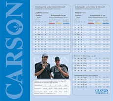 Carson WorkWear Maattabel-127