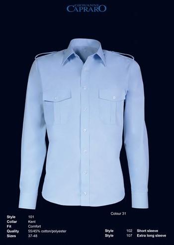 SALE! Giovanni Capraro 101-31 Pilot Overhemd Lange Mouwen - Blauw - Maat 48