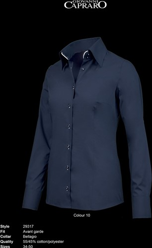 SALE! Giovanni Capraro 29317-10 Blouse - Navy [Wit accent] - Maat 42
