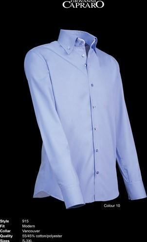 SALE! Giovanni Capraro 915-10 Heren Overhemd - Licht Blauw [Wit accent] - Maat 3XL