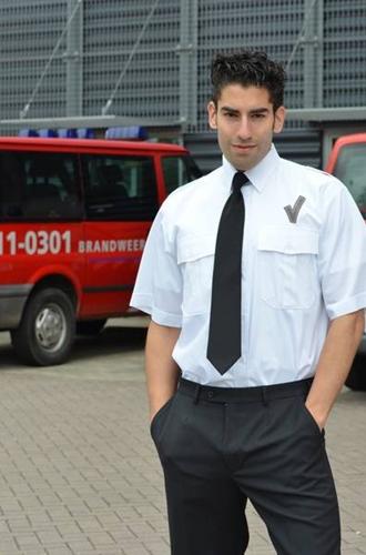 Heren Pilot shirt + V teken - KM Wit-1