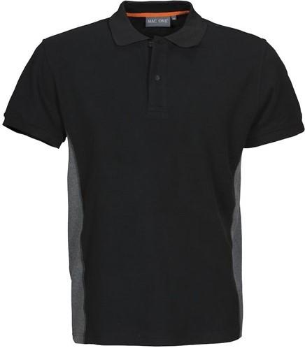 SALE! MacOne 2535018 Ture Polo Shirt - Zwart/grijsmelêé - Maat 2XL