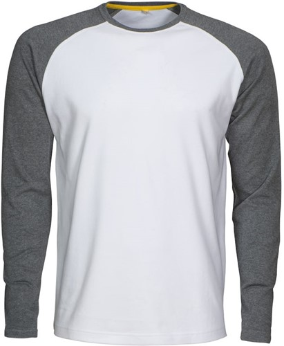 Mac One Alex T-shirt Lange Mouwen-XS-Wit/grijsmelêé