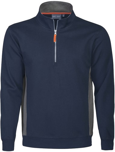 Mac One Bill Half Zip Sweater-Navy-XS
