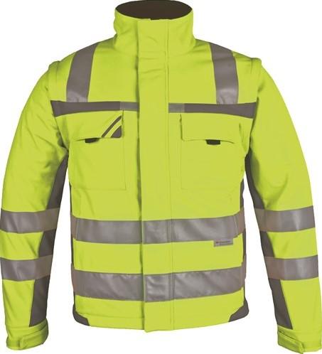 SALE! PKA 005 Winter Signaal Softshell Jas - Geel/grijs - Maat XL