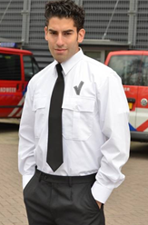 SALE! Me Wear 3940 Heren Pilot shirt + V teken LM - Wit - Maat 39/40